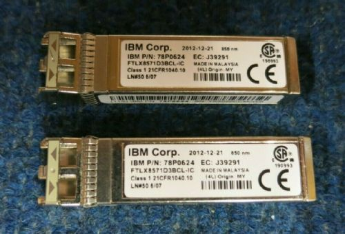 2 x IBM 78P0624 10GB/S 850NM 10GBASE SE-SR SFP+ Ortical Transceiver Module